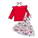 LUCSUN - Conjunto de ropa de Navidad para bebés y niñas, diseño de volantes y falda de tirantes con cinta