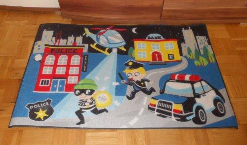 Associated Weavers Kinderteppich Teppich Kinderteppich Kinder Teppich Spielteppich Boys 04 Police Verbrecherjagd 80 x 120 cm ein muss für jeden Polizei Fan darf in keinem Kinderzimmer fehlen