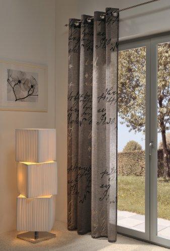 Gardine, Ösenschal,140cm x 245 cm taupe farbig, Script , halbtransparent, elegant weich fließende hochwertige Qualität von HECO Textilverlag