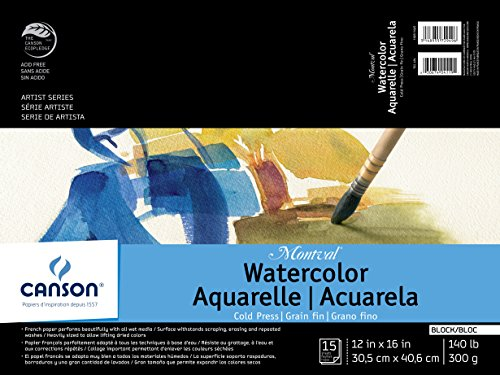 Canson Montval Watercolor Block, Cold Press Acid Free French Paper, 140 Pound, 12 x 16 Inch, 15 Sheets