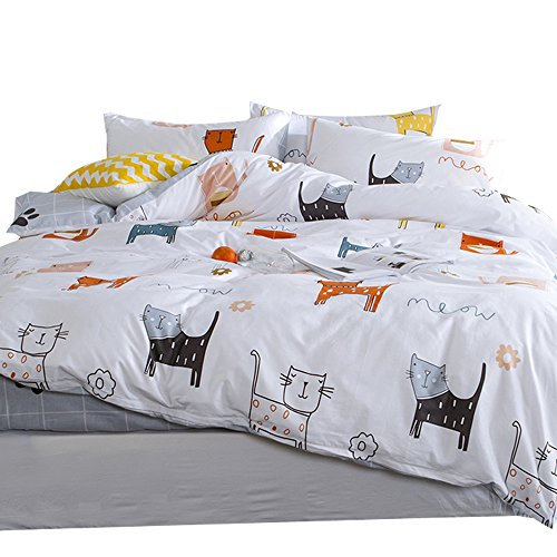 OTOB Cartoon Cats Print Twin Duvet Cover Sets for Kids White Grey 100% Cotton Reversible Comfortable 3 Pieces Girls Boys Cat Kawaii Twin Bedding Sets with 2 Pillowcases Child Bedding Sets