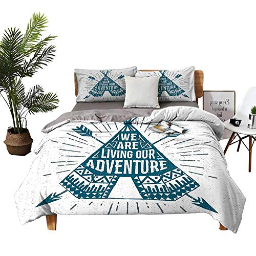 DRAGON VINES Bed Sheets King Adventure Pocket Full of Sheets Teepee Crossed Arrows We are Living Our Adventure Inspirational Quote W79 xL90 Dark Petrol Blue White