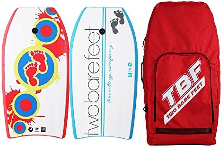 Two Bare Feet Deux Pieds nus 94cm Bodyboard Bundle 2x 37planches de bodyboard de votre choix + Premium double Sac de transport (Splat (Rouge) + TABLEAU Co (Bleu) + Rouge Sac)