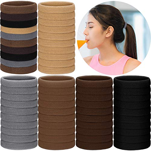 200 Pieces Seamless Cotton Hair Ties Thick Elastic Hair Bands Soft Stretchy Ponytail Holders for Women Girls (Neutral Color)