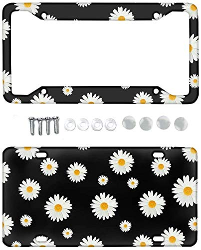 SEANATIVE Floral Front License Plate Daisy Flowers Pattern Auto Decorative License Plate Frame for Most Vehicle,SUV,Truck,Van,All 2 Packs