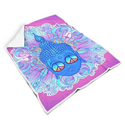 Windhada Buddha Peace Neon Party - Manta de Microfibra (Muy Suave), poliéster, Blanco, para Galaxy S3