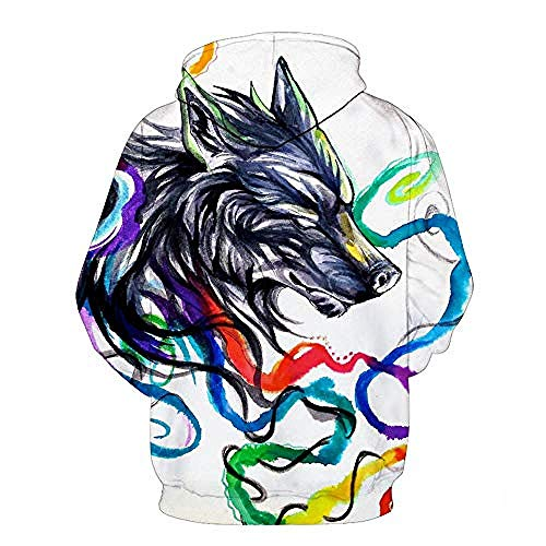 yyqx container Pullovers 3D Printing Hoodies Watercolor Wolf Streetwear with Front Big Kangaroo Pockets-M
