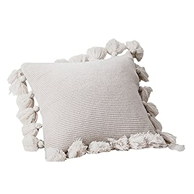 DOKOT Handmade Knitted Decorative Square Warm Throw Pillow Cover/Cushion Cover with Pom Pom Lantern Tassels (Beige)