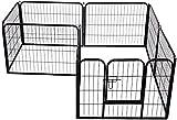Pawhut Heavy Duty Dog Pet Puppy Metal Playpen Play Pen Rabbit Pig Hutch Run Enclosure Foldable, Black, 80 x 100 (Large)