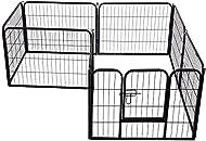 Pawhut Heavy Duty Dog Pet Puppy Metal Playpen Play Pen Rabbit Pig Hutch Run Enclosure Foldable, Blac...