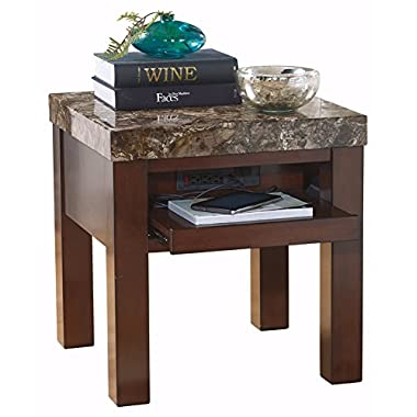 Ashley Furniture Signature Design - Kraleene End Table - Pull Out Tray with USB Ports - Contemporary - Dark Brown