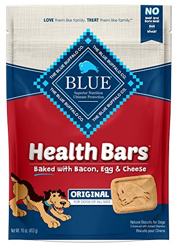 Blue Buffalo Health Bars Natural Crunchy Dog Treats Biscuits, Bacon, Egg & Cheese 16-oz bag.