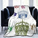 Ultra Soft Fleece Blanket for Adult Anti Fleece Blanket,Old Antique Crown Set in Baroque Style Colorful Rococo Retro Victorian Floral Details,Soft Comfortable Sofa Throw Blanket 80'x60'