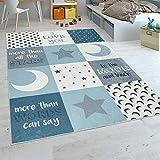 Paco Home Kinderteppich Kinderzimmer Jungen Waschbar Herzen Sterne Mond Spruch Blau Grau, Grösse:140x200 cm