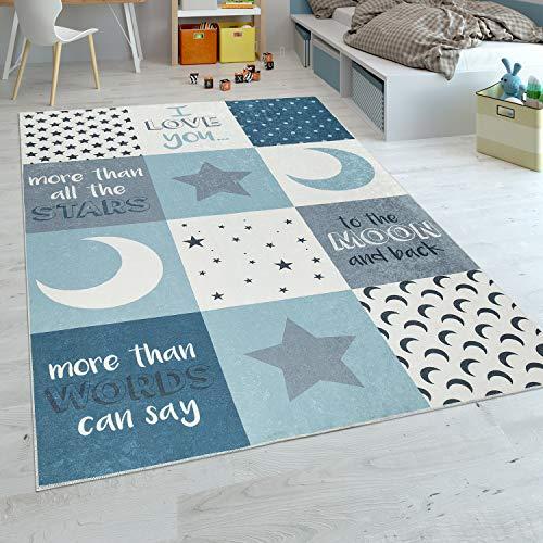 Paco Home Kinderteppich Kinderzimmer Jungen Waschbar Herzen Sterne Mond Spruch Blau Grau, Grösse:120x160 cm