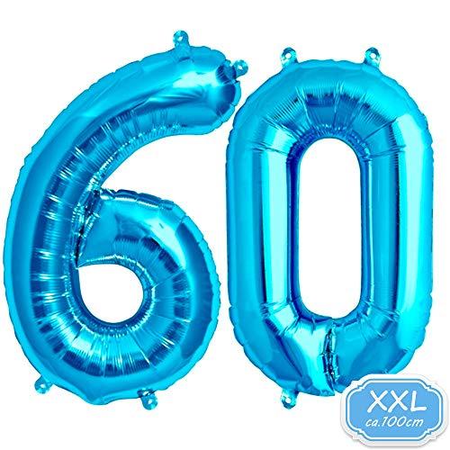 FUNXGO Folienballon Zahl in Blau - XXL / ca.100cm Riesenzahl Ballons - Folienballons für Luft oder Helium als Geburtstag, Hochzeit , Jubiläum oder Abschluss Geschenk, Party Dekoration (Blau [ 60 ])