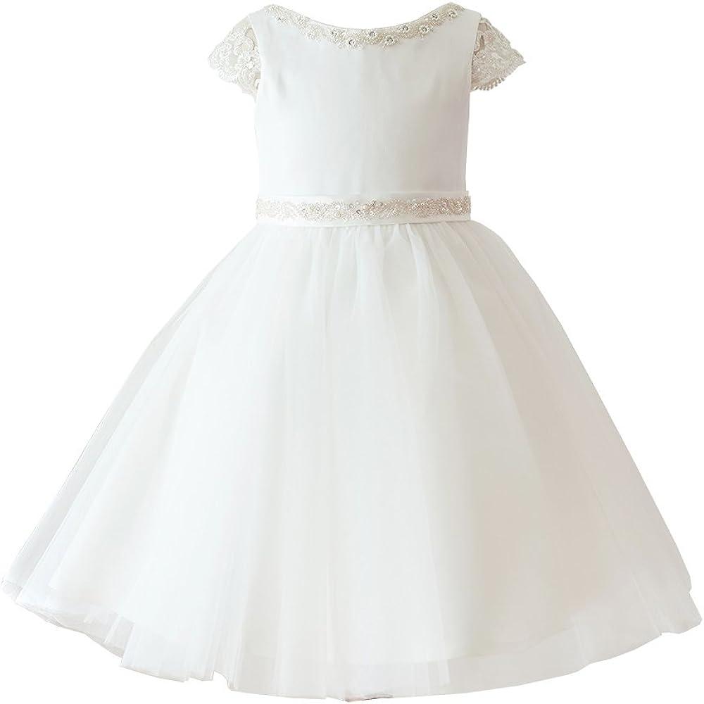 Miama Ivory Satin Tulle Cap Sleeves Beaded Wedding Flower Girl Dress Junior Bridesmaid Dress
