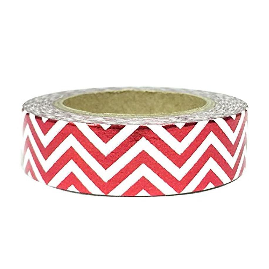 Wrapables Colorful Washi Masking Tape, Metallic Red Zigzag