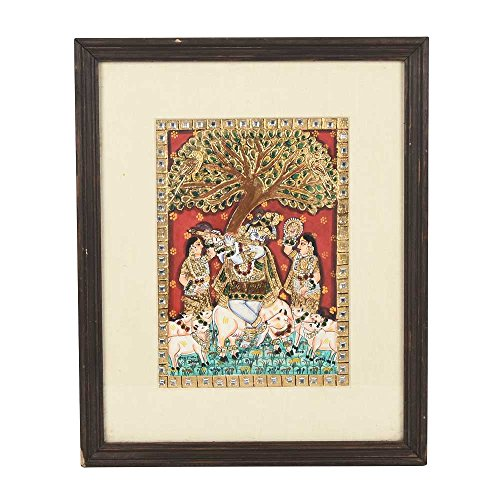 Étagère Indien Fait à la Main encadrée Arbre Flûte Krishna Peinture de Peinture Peinture de Art Pt-93