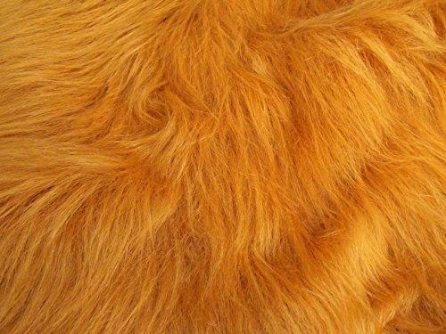 CRS Fur Fabrics Diversión de Pelo Largo Pelo sintético Tejido Material–Miel marrón