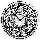 Reloj De Pared Reloj De Pared Silencioso Operado Reloj De Pared Redondo De Fácil Lectura Broche Celta Plateado En Blanco