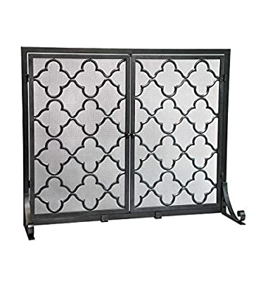 Large Steel Geometric Fireplace Screen with Doors, Durable Frame and Metal Mesh, 44 W x 33 H Pewter from Plow & Hearth