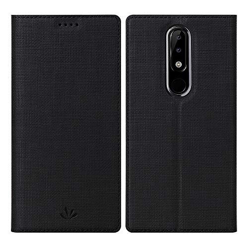 DDJ Nokia 5.1 Plus Hülle, Wasserdicht PU Leder Flip Klappbares Case Cover Standfunktion Kartenfach TPU Stoßstange Wallet Holder Schutzhülle Handyhülle für Nokia 5.1 Plus (Schwarz)