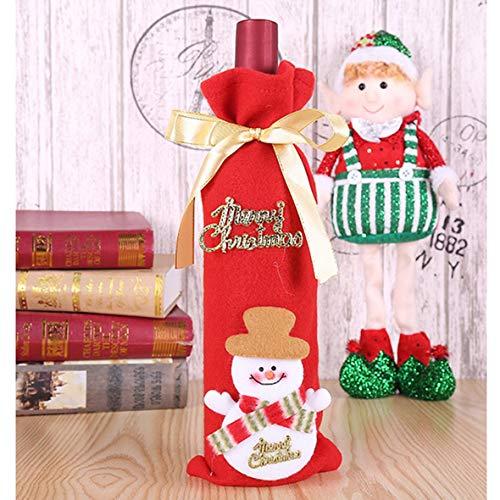 Bolsa de botella de vino tinto Bolsas Santa Claus muñeco de nieve Navidad botella de vino cubierta #Pennytupu