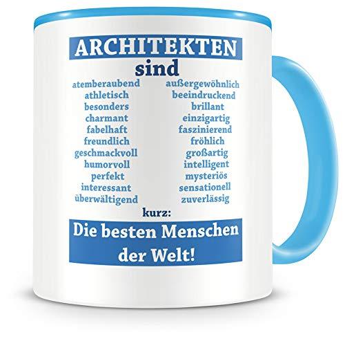 Samunshi - Tazas de trabajo, diseño con texto en alemán, cerámica, azul claro/azul claro, Architekten sind... 300ml