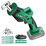KIMO 20V Cordless One-handed Reciprocating Saw w/Clamping Claw for Smooth Cuts, 2.0Ah Li-ion Battery, 7/8' Stroke Length, 6 Saw Blades for Wood/Metal/PVC Pipe Cutting, Tree Trimming, Demolition