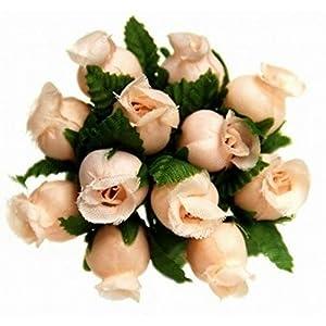 144 Miniature Poly Rose Silk Favor Flower Pick Wedding Shower – Peach