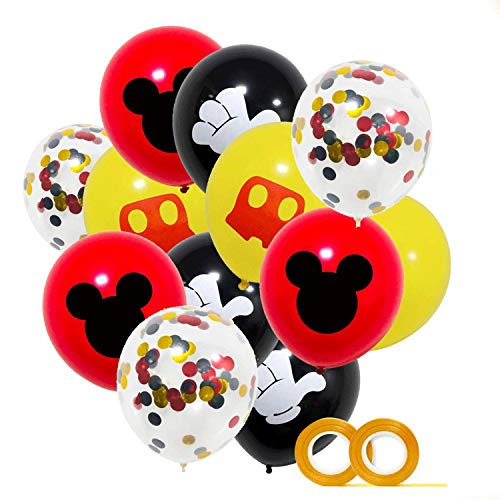 Mickey Party Globos 40 Pack,12 pulgadas Globos de látex Rojo Negro Amarillo Color Confetti Balloons Kit para Baby Shower Mickey Theme Party Supplies Suministros para fiestas de cumpleaños Decoraciones