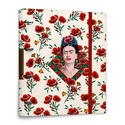 Grupo Erik CAT0075 Raccoglitore ad anelli A4 Frida Kahlo Flowers con chiusura con fascia elastica per tenere al sicuro i tuoi appunti