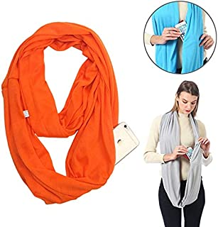 New Fashion Clothing Accessories Women Solid Winter Infinity Scarf Pocket Loop Zipper Pocket Scarves (Black) (Color : Orange)