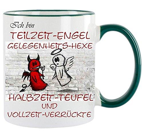 Crealuxe Ich Bin Teilzeitengel. - Kaffeetasse mit Motiv, Bedruckte Tasse mit Sprüchen oder Bildern