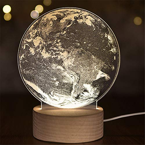 Nachtlicht Der Illusions-3D Für Kindergeschenk, Nachttischlampe-Weihnachtsdekor-Tischlichter Der Erde-3D Led Groß Für Hauptschlafzimmer-Geburtstags-Kinder Präsentieren Weihnachten