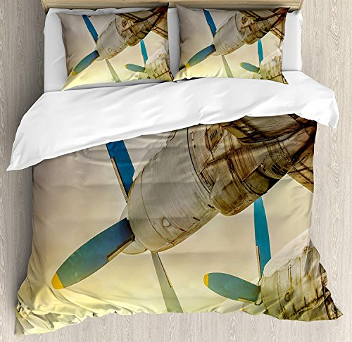 Vintage Airplane Decor 4 Piece Bedding Duvet Cover Sets for Kids/Adults/Teens/Children - Full Luxury Soft Lightweight Brushed Microfiber, Old Wing Aircraft with Propellers at Sunset Snowy Winter Sky