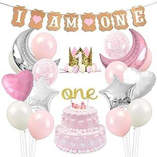 1歳 飾り付け 女の子 ピンク 誕生日 バナー ガーランド バースデークラウン バルーン 風船 スター ハート 紙吹雪入れ ケーキトッパー 45枚セット