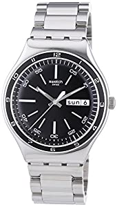 Swatch Men's YGS749G Quarts Date Black Dial Stainless Steel Watch Find Prices and Now and review