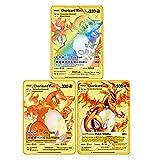 3PCS Ultra Rare Pokemon Metal Gold Plated Card, Charizard Gold Custom Metal Card Vmax DX GX Metal Gold Plated Collection Cards (3PCS Charizard -1)