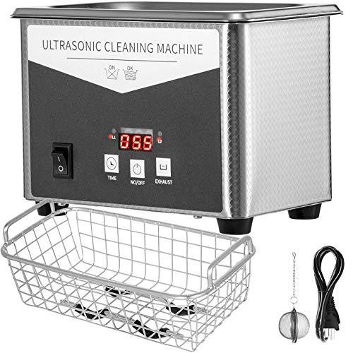 VEVOR 0.8L Professional Ultrasonic Cleaner 304 Stainless Steel Digital Lab Ultrasonic Cleaner with Timer for Jewelry Watch Glasses Circuit Board Dentures Small Parts Dental Instrument (0.8L)