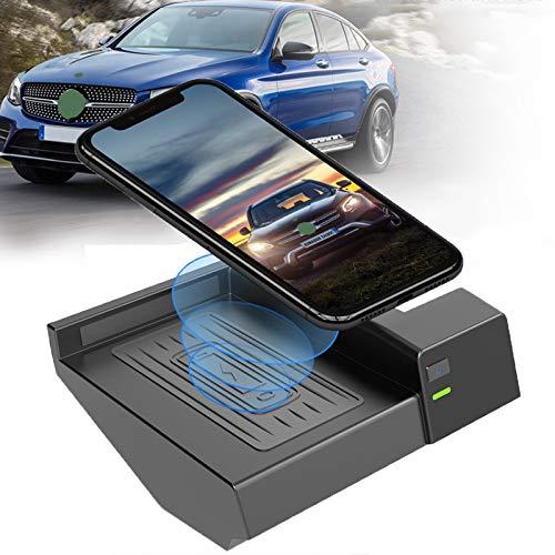 Cargador inalámbrico para coche para Mercedes Benz Clase C Glc Modelos 2015 2016 2017 2018 2019 2020, 10 W Qi Cargador de teléfono antideslizante de carga rápida Panel de accesorios de consola centr