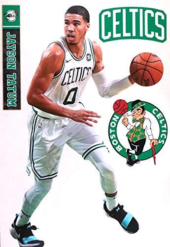 Jayson Tatum FATHEAD Graphic + Boston Celtics Logo Set Official NBA Vinyl Wall Graphics 17' INCH