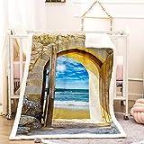 GZHMW Manta Polar Sofa y Cama Invierno 3D Impresa Sherpa Microfibra Extra Suave Acogedora y Cálida Franela Manta para Adultos y Niños(Arcos al mar 130×150cm)