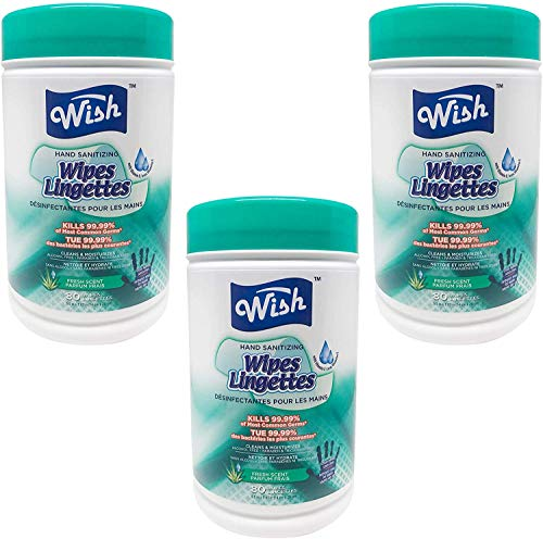 Wish Hand Sanitizing Wipes Can Kills 99.99% of Most Common Germs 80 Count Fresh Scent