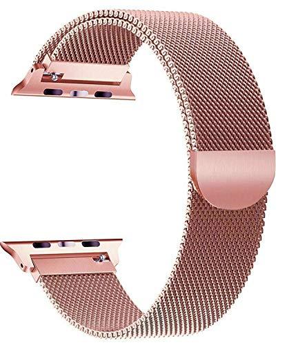 Correa magnética de acero inoxidable rosa para Apple Watch de 38 mm y 40 mm de metal para iWatch Series 6/5/4/3/2/1