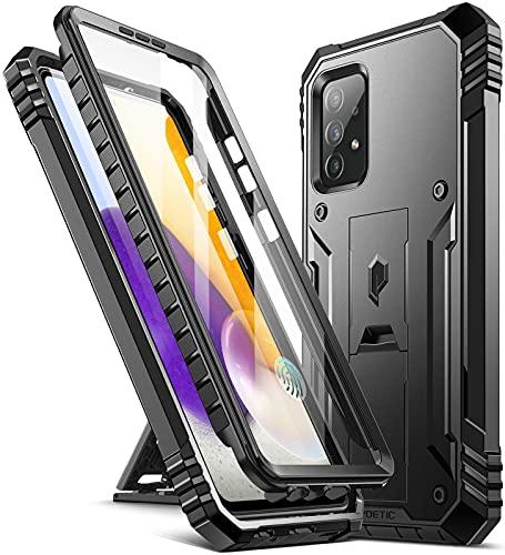 Poetic Revolution Series - Custodia protettiva per Samsung Galaxy A72, a doppio strato, antiurto, con cavalletto e pellicola protettiva integrata, colore: Nero