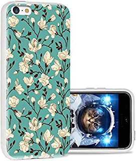iPhone 5c case Cool, iPhone 5c case Cute, ChiChiC Full Protective Stylish Case Slim Durable Soft TPU Cases Cover with Design for iPhone 5c,White Flower Magnolia Almond on Green Emerald Floral
