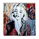 Marilyn Monroe Duschvorhang-Set, Schimmel- & Mehltauresistent, Heimdekoration, Polyester, wasserdichter Stoff, Badvorhänge mit 12 Haken, 153 x 183 cm
