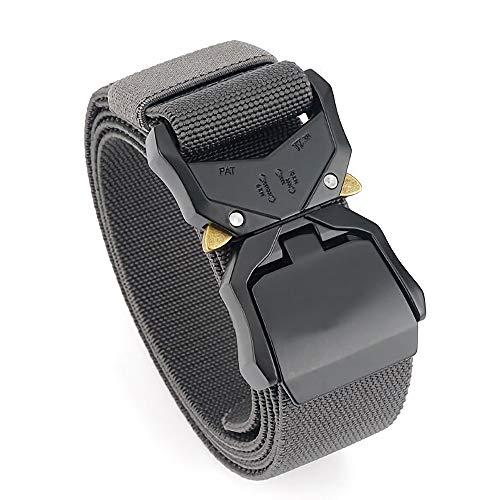 """TENINE Cinturón Elástico, Cinturones Para Hombre Mujeres Cinturón Táctico Cinta Cinturones de Lona Estilo Militar D Anillo Hebilla 1.5"""" Invisible Ajuastable Correa de Cintura (Gris 03)"""